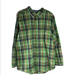 Chaps button front plaid shirt size XL